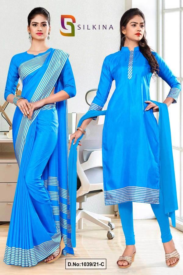sky-blue-plain-border-premium-polycotton-raw-silk-saree-salwar-combo-for-hotel-uniform-sarees-salwar-combo-1039-C