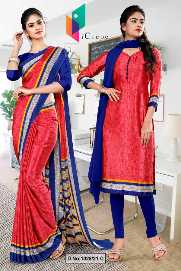 tomato-ink-blue-premium-italian-silk-crepe-saree-salwar-combo-for-staff-uniform-sarees-1028-C