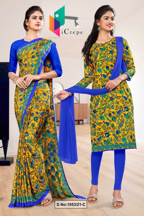 yellow-blue-flower-print-premium-italian-silk-crepe-uniform-saree-chudidar-combo-for-college-students-1053-C