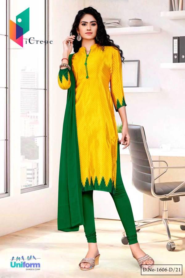 yellow-gold-green-small-print-premium-italian-silk-crepe-uniform-churidar-for-hotel-uniforms-1606-D