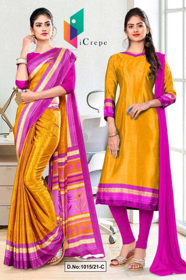 yellow-lavender-premium-italian-silk-crepe-saree-salwar-combo-for-workers-uniform-sarees-1015-C