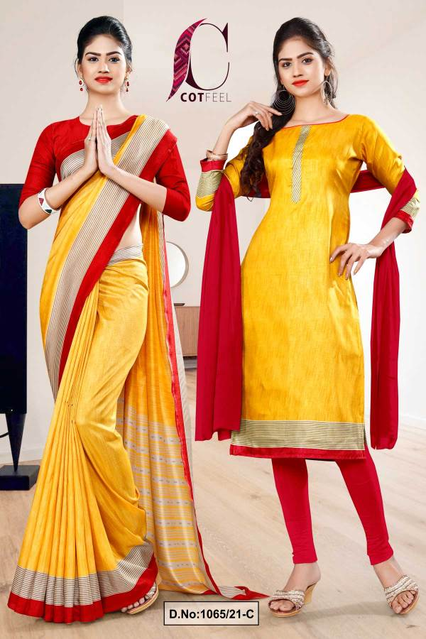 yellow-red-plain-border-premium-polycotton-cotfeel-saree-chudi-combo-for-student-uniform-sarees-1065