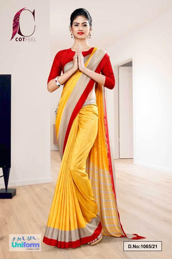 yellow-red-plain-border-premium-polycotton-cotfeel-saree-for-student-uniform-sarees-1065-21
