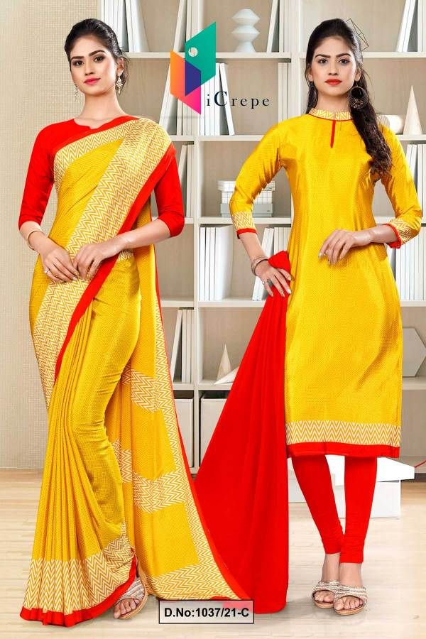 yellow-red-premium-italian-silk-crepe-uniform-sarees-salwar-combo-for-school-teachers-1037-C