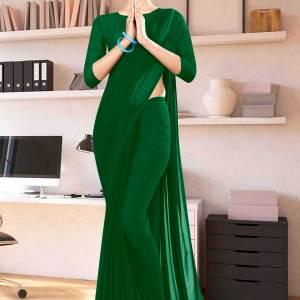 Bottle-Green-Plain-School-Uniform-Sarees-1115