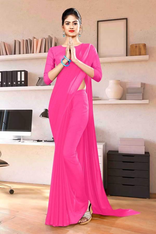Pink-Plain-Workers-Uniform-Sarees-1119