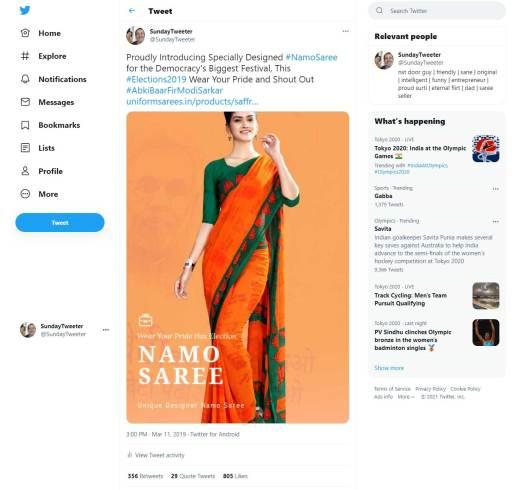 Namo-Saree-Tweet