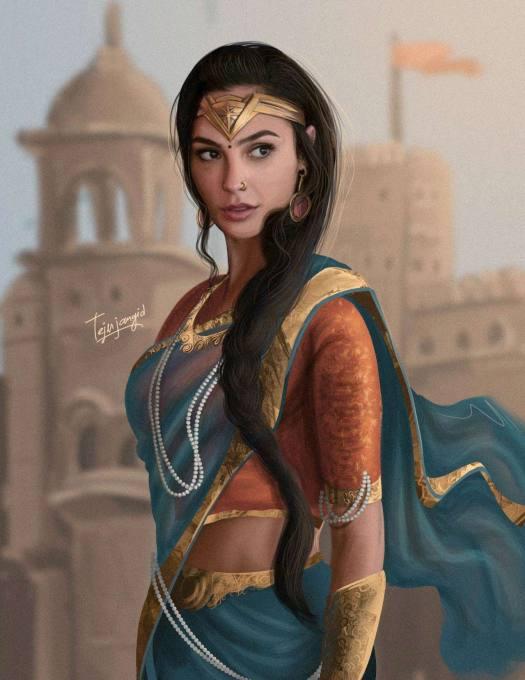 Marvel-Superhero-Wonder-Woman-In-Indian-Saree