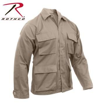 Rothco Poly-Cotton Twill Solid BDU Shirts - 7900-B - Khaki