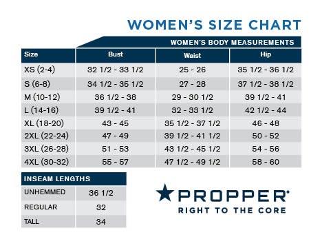 Propper Women Size Chart