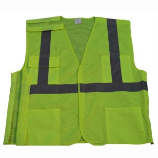 Petra Roc 5 Point Breakaway ANSI Class 2 Lime Safety Vest - LVM2-5PB - Lime-Front