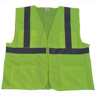 Petra Roc ANSI Class 2 4-Pocket Safety Vest LV2-FSMB - Lime-Front