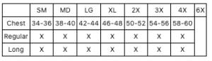 liberty-uniform-530MNV-530MBK-size-chart