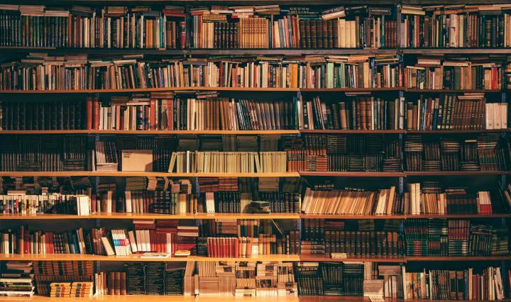 Antique bookshelf full of dark coloured books