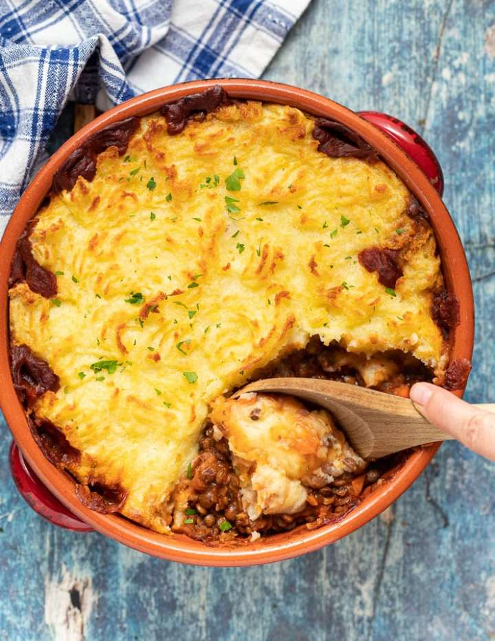 red lentil shepherd's pie veganuary recipes