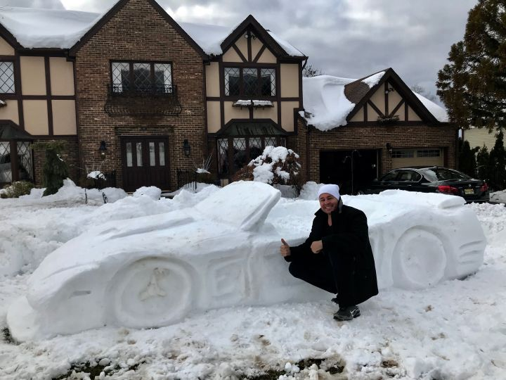 Car made out of snow
