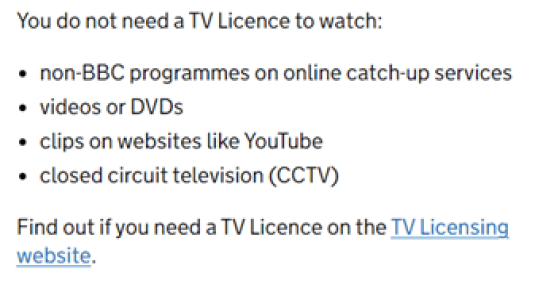 TV licence rules