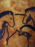 Pferde inspiriert von Höhlenmalerei