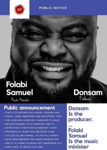 Donsam changes Ministering Name to Folabi Samuel