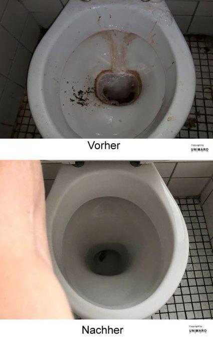 Sehr dreckige Toilette mit Urinflecken vor der Reinigung, dann nach der Reinigung, sauber