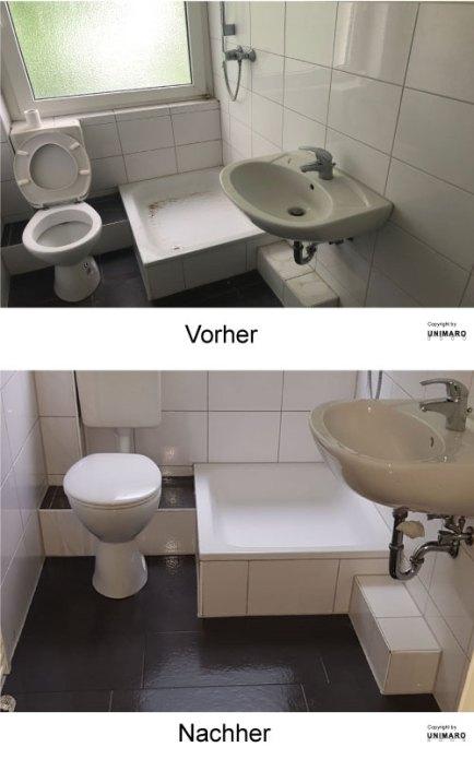 Sanitäranlagen vor der Reinigung, dreckig, Sanitäranlagen nach der Reinigung, sauber