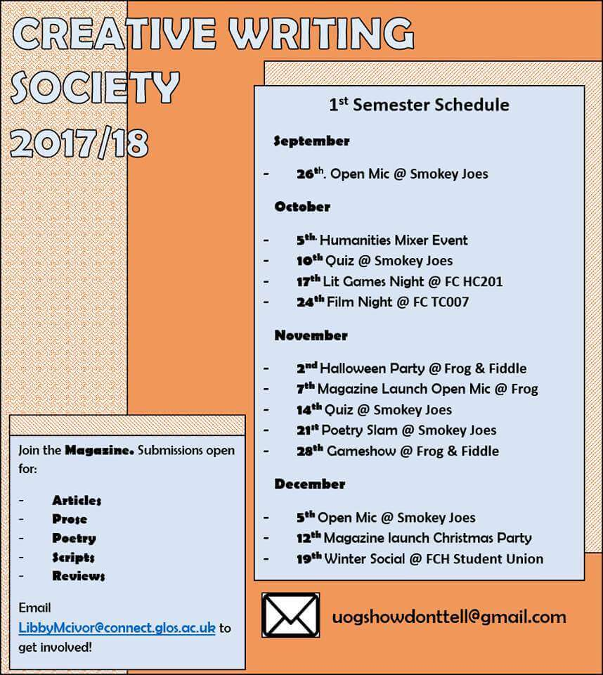 creative writing society 2017-2018
