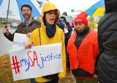SA workers and supporters march outside the store on Lexington and I-94 in St. Paul.
