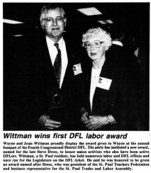 Wayne and Joan Wittman accept an award for their activsm from the DFL Party.