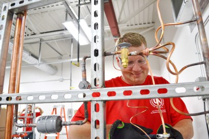 St. Paul Pipefitters Local 455 apprentice Jeremy McConkey finished second in the HVACRcompetition.
