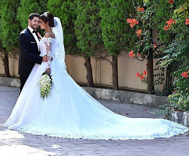 Ball Gown Off The Shoulder Long Sleeve Tulle Lace Wedding