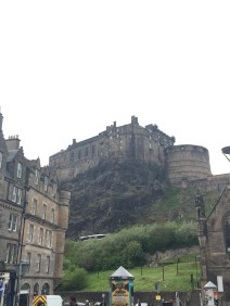 Look! It's Edinburgh Castle casually peeking out from behind some buildings at the Grassmarket.