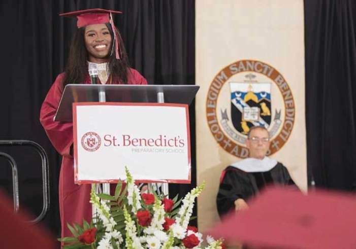 Hillside student gives farewell address to first class of graduates in the Girls Prep Division at St. Benedict's Prep