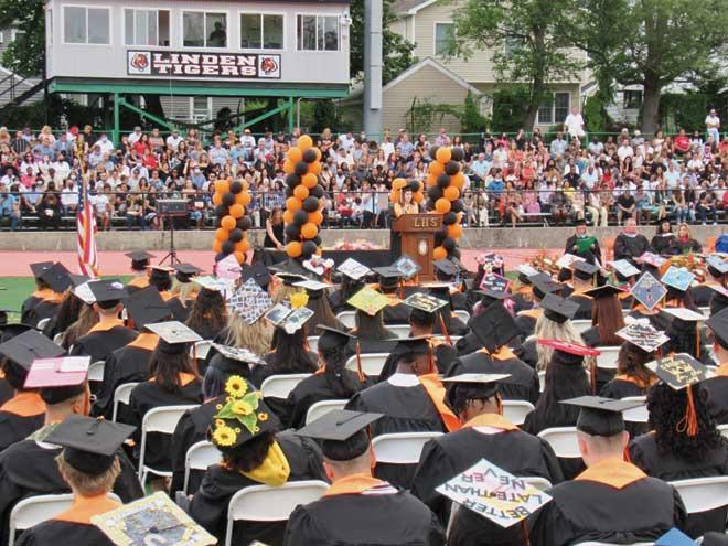 Long-stemmed flowers help to honor Linden HS graduates