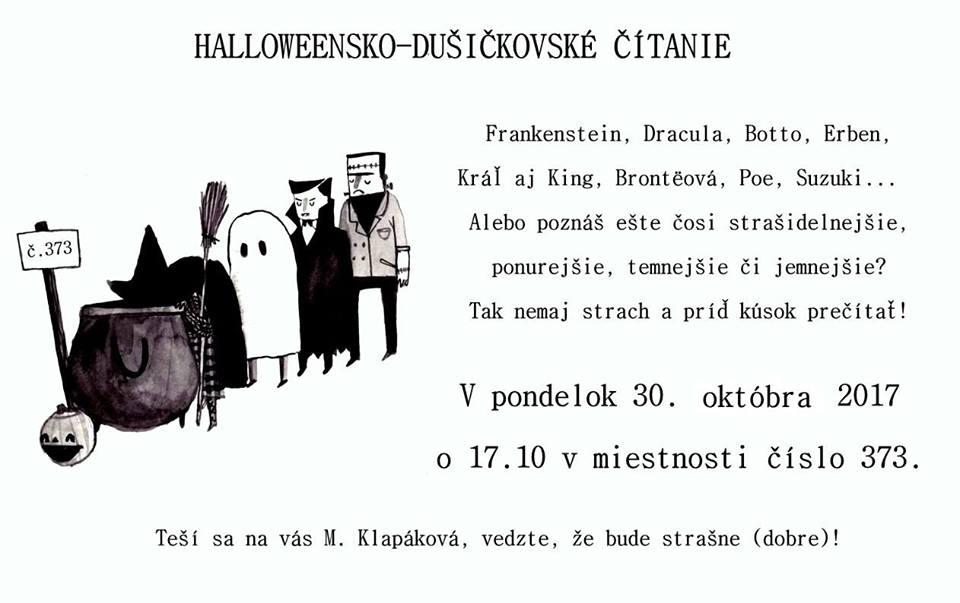 Pozvánka na halloweensko−dušičkové čítanie. (Foto: FB 1. ročník MGR SJ)