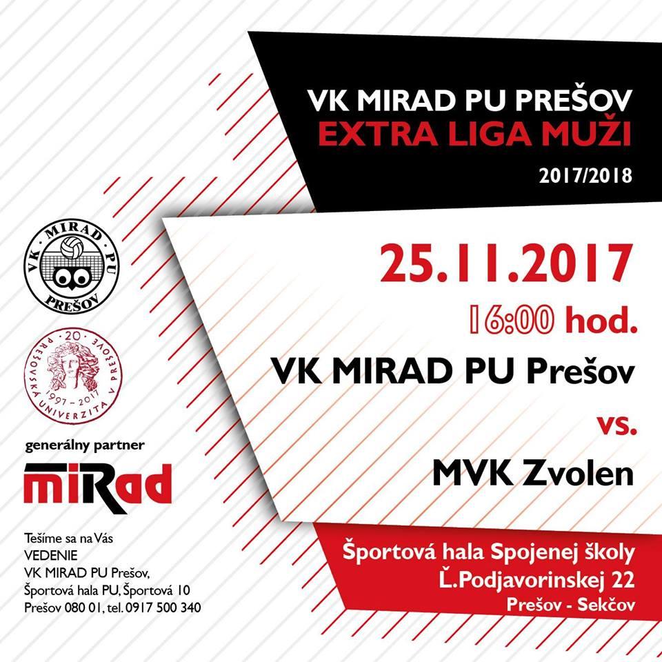 Plagát VK MIRAD PU vs. MVK Zvolen (Foto: FB VK Mirad PU Prešov)