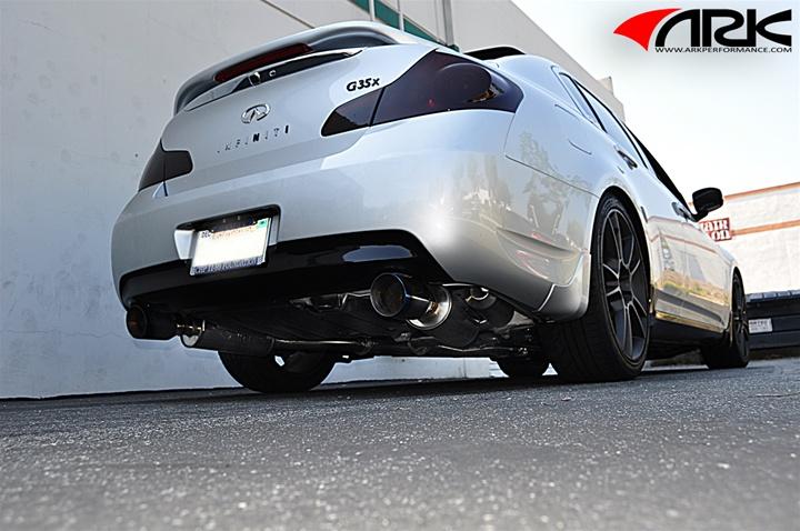 infiniti g37x 07 on awd rwd sedan ark dual grip exhaust system polished tips