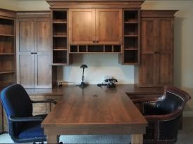 Knotty alder wood peninsula desk & storage cabinets