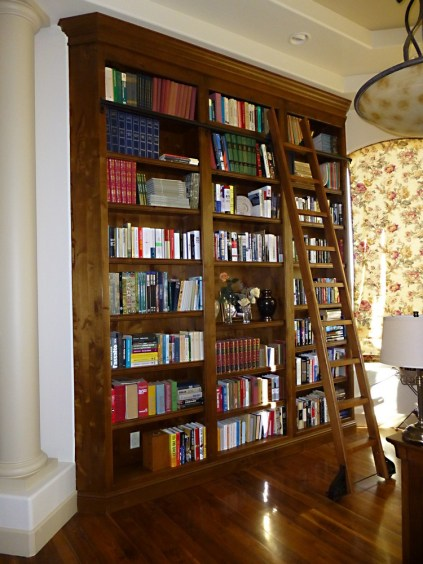 Knotty alder wood bookshelf with rolling ladder