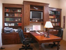 Alder wood home office. peninsula desk with turned legs