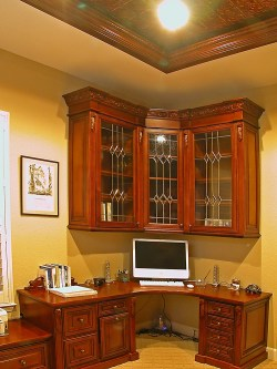 Red Mahogany glazed finish. carved crown & embellishments