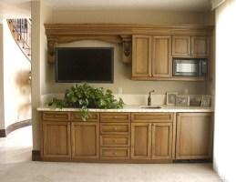 Pecan wood beverage center with glazed finish