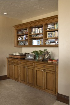 Pecan cabinetry with glazed finish
