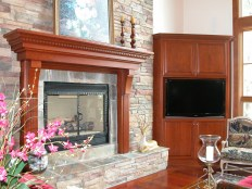Cherry Mantel & Corner Media