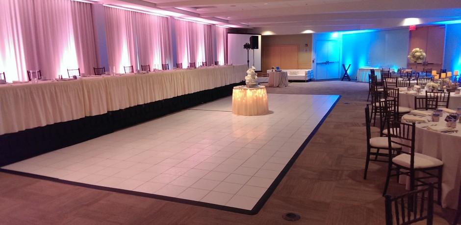 white dance floor rental for weddings