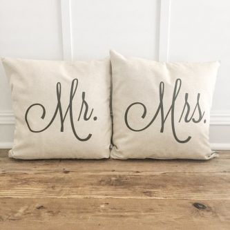 Gift Ideas for the Letter M - Mr and Mrs pillows