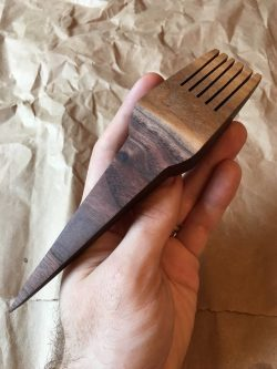 Medium walnut weaving comb unique Gift Ideas for the Letter M