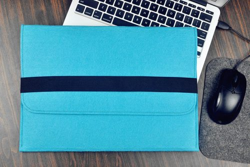 Blue laptop bag employee Christmas Holiday gift idea