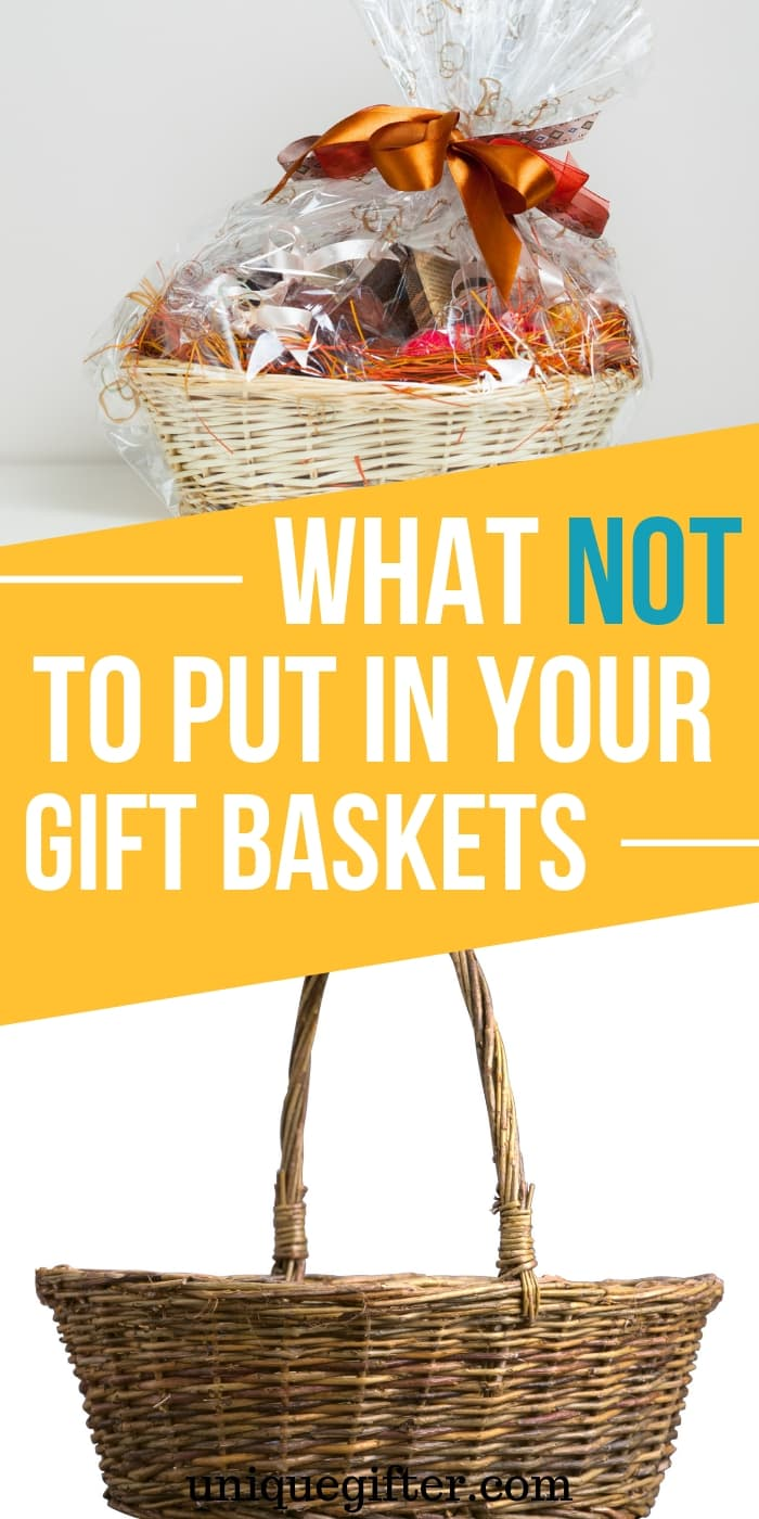 Do you know what to avoid putting in gift baskets? Things that people don't actually want or need? This list has changed the way I think about making gift baskets for gift giving and for fundraisers. Pin it to keep it in mind! #gifts #giftbasket Bad gift ideas | Fundraising tips | How to give good gifts