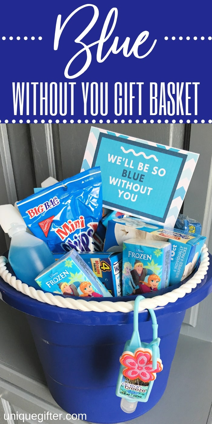 Give this Blue Without You Gift Basket Idea as a way to show how much someone means to you. An easy family and kid-friendly idea with a free printable gift tag. | DIY Presents for road trips | traveling with children tips and hacks | goodbye gifts | Deployment and Military gift ideas | Themed gift baskets for kids and for teens #giftbasket #giftideas #giftgiving #kids #teens