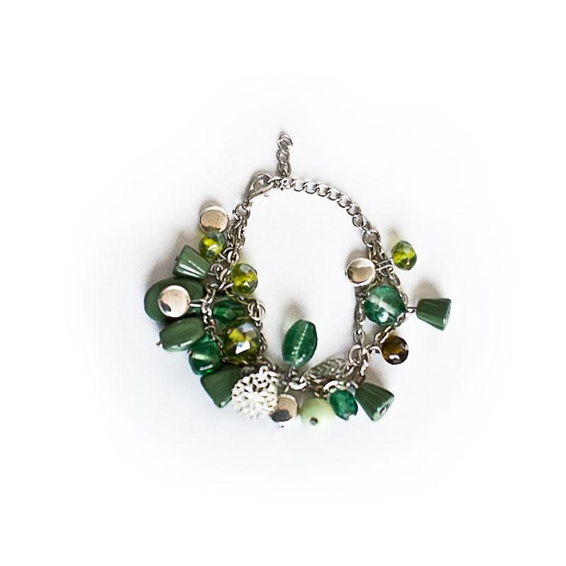 Teal, green and brown beaded bracelet - artnomore.co.uk